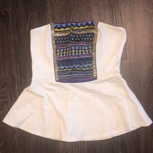 Strapless embroidered babydoll top